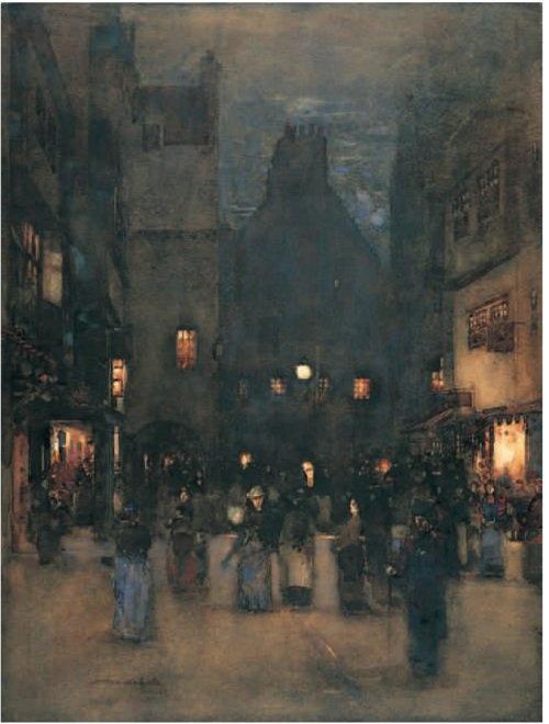 Arthur Melville - Old Edinburgh at Night