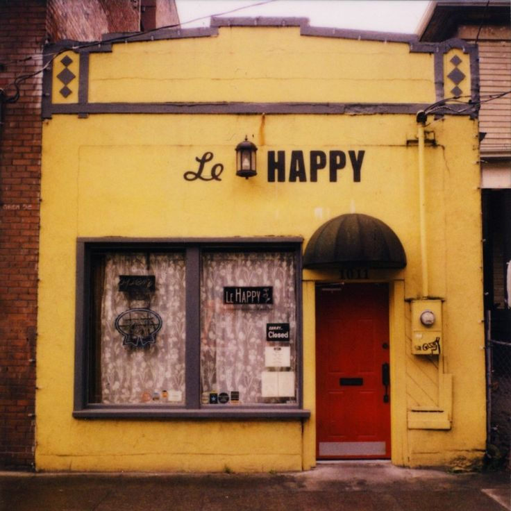 "Le Happy • The author writes, ""This is where I go in Portland when I'm feeling down. Not only does the outside of this cheery restaurant and bar instantly make me feel better (for obvious reasons), but inside they specialize in making fantastic sweet and savory crepes, are open late when most places are closed, and also have PBR tall boys on the cheap."""