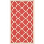 Courtyard Red/Bone (Red/Ivory) 2 ft. x 3 ft. 7 in. Indoor/Outdoor Area Rug