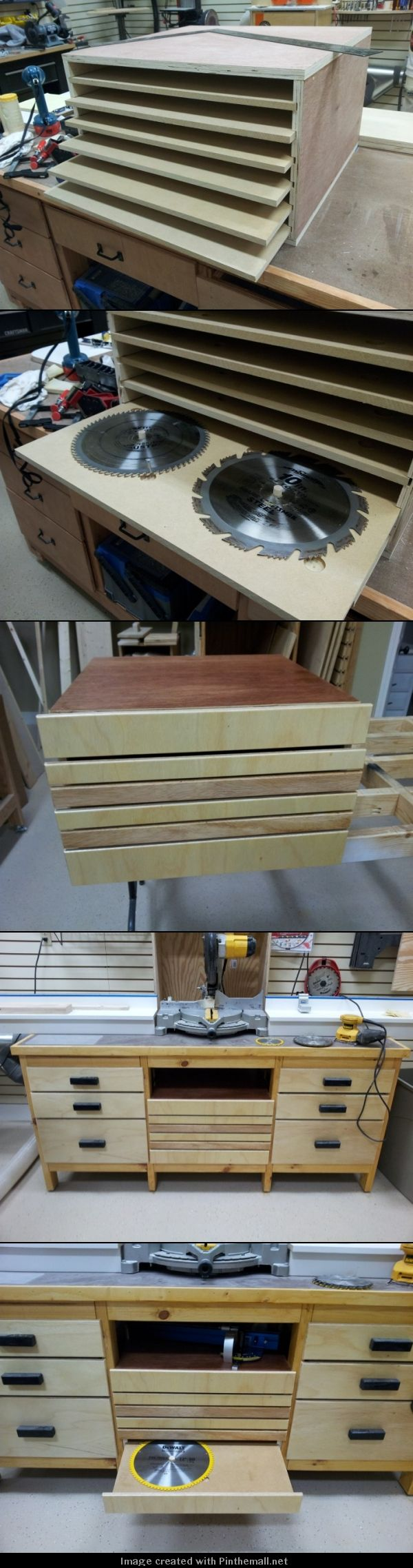 """Saw blade storage mounted in the center section of miter saw station. 1/2"""" MDF for bottoms with 1/2"""" birch plywood for drawer faces. All that's left are the wooden drawer pulls. - created via http://pinthemall.net"""