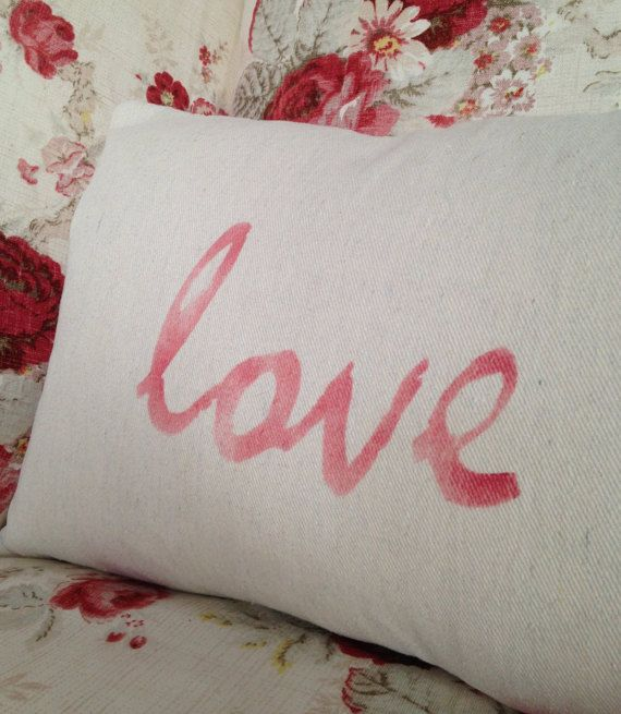 Love pillow stenciled red lettering Valentines by CottageShades