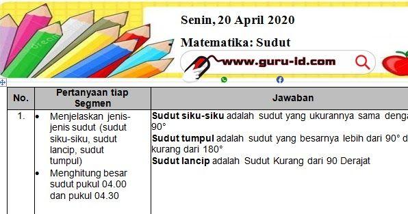 Kunci Jawaban Soal Tvri Kelas 1 2 3 4 5 6 Senin 20 April 2020 Di 2020 Matematika Pengukur Kunci