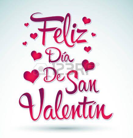 14 de febrero en español: Feliz Día de San Valentín - Happy Valentines day español texto - vector letras