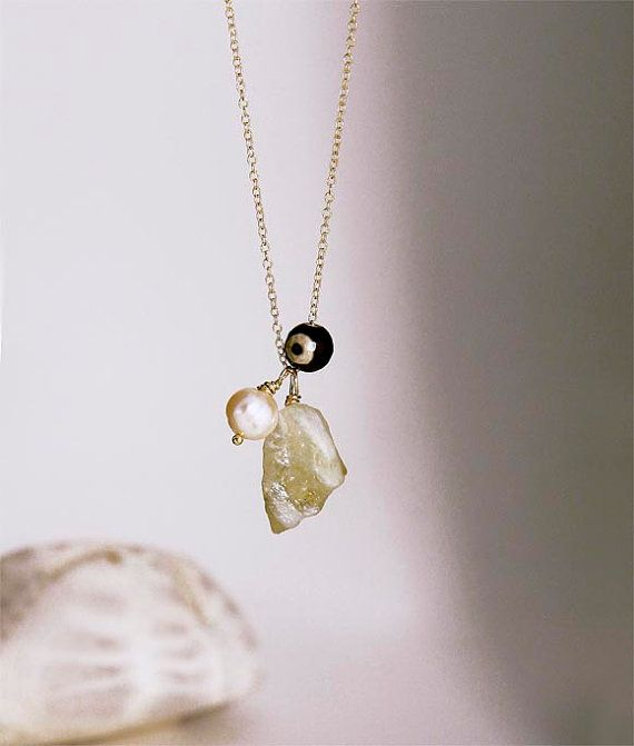 Pendant necklace with gemstones citrine by anypearljewelry on Etsy