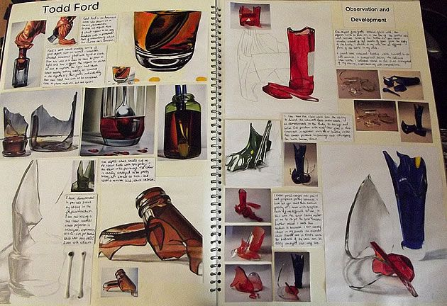 AS Level Art sketchbook page by David Wasserman from Monks Dyke Tennyson College UK. Studies of artist Todd Ford inform observational drawings in the same style.