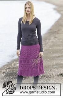 "Madison - Knitted DROPS skirt with lace pattern in ""Cotton Merino"". Size: S - XXXL. - Free pattern by DROPS Design"