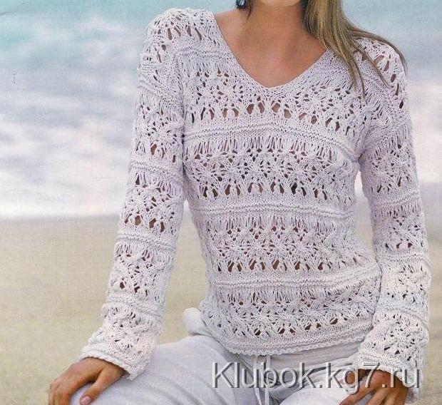 Нежность белой пряжи завораживает! Интересный ажурный пуловер