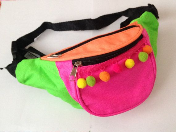 Multi neon rave 90s pompom festival club fashion customised bum bag fanny pack