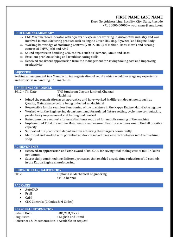 7 best Industrial Maintenance Resumes images on Pinterest - cnc machinist resume