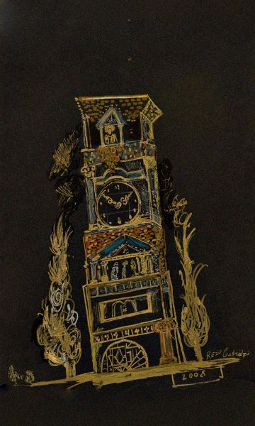 sketch of Tower / Rezo Gabriadze -  the Marionette Theater, Tbilisi.