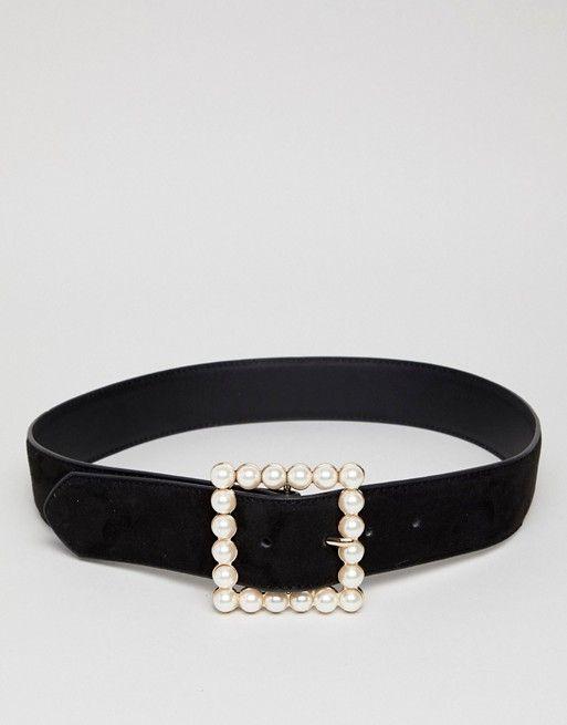 93616d67d16c7 Glamorous faux pearl buckle belt in black in 2019 | Beauty | Belt ...