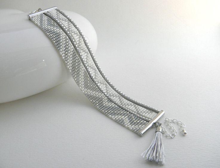 Bracelet fait main perles de rocaille Miyuki blanc, gris et argenté   Bijoux, montres, Bijoux fantaisie, Bracelets   eBay!