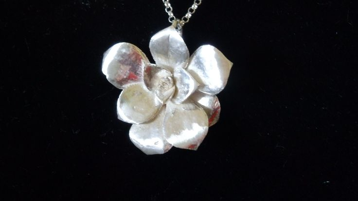 Sterling Silver SUCCULENT, cast from actual rosette, on sterling silver chain.