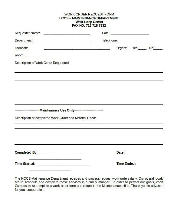28 Maintenance Service Request Form Template In 2020 Order Form