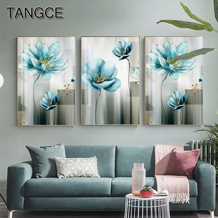 Abstract Blue Flower Canvas Painting Modern baby blue Wall Art Picture for Living Room Gold Poster Print Cuadros Salon Decoracio Flower Painting Canvas, Flower Canvas, Blue Painting, Painting Frames, Wall Art Sets, Wall Art Decor, Art Pour Salon, Images D'art, Gold Wall Art