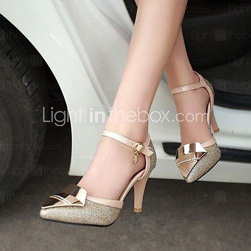 Women's Shoes Stiletto Heel Heels/Closed Toe Pumps/Heels Dress Black/Silver/Gold - USD $44.99