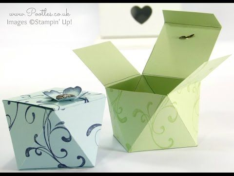 Faceted Gift Box Tutorial using Stampin' Up! Everything Eleanor - YouTube.  For lots of box examples of this pattern look here: http://pootles.co.uk/2015/03/02/faceted-box-tutorial-the-follow-up/