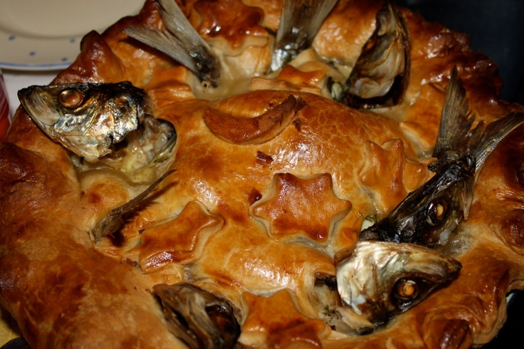 Stargazy Pie a traditional Cornish dish.  The fish heads stick out of the pie.  No guilt.