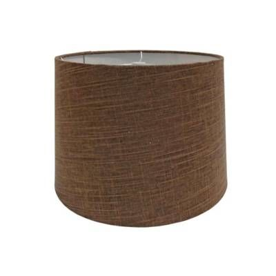 product image for 9-Inch Linen Metallic Hardback Drum Lamp Shade in Brown