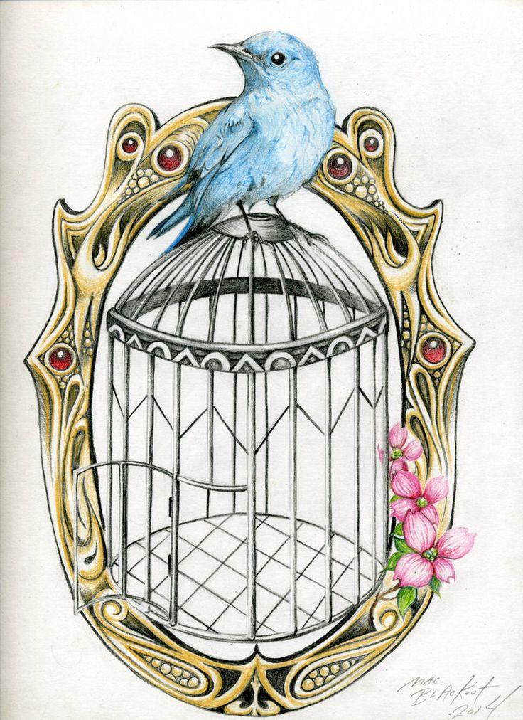 Bird Cage Tattoo Flash | Mac Blackout Tattoo Flash Commissio ...