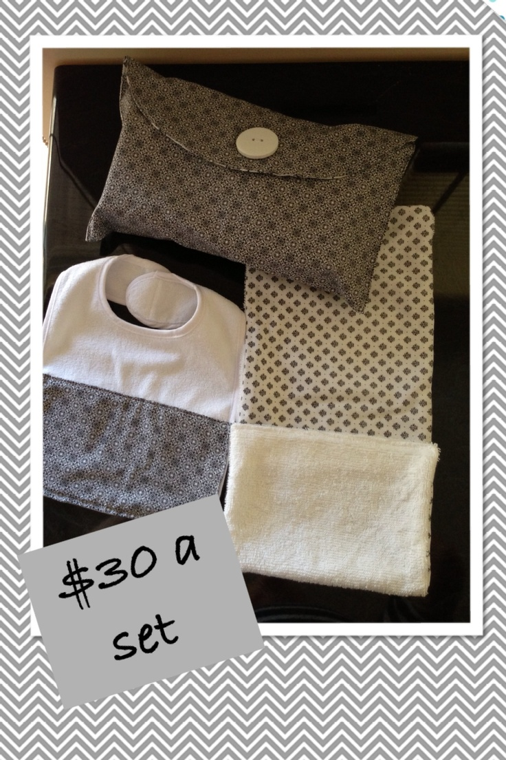 Mini nappy bag , bib and dribble cloth