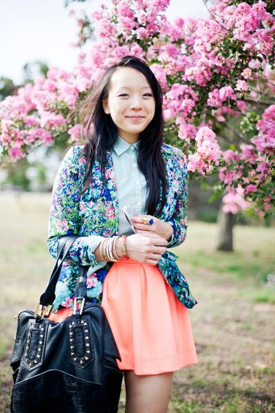 Blue-floral-zara-blazer-peach-neon-lulus-skirt