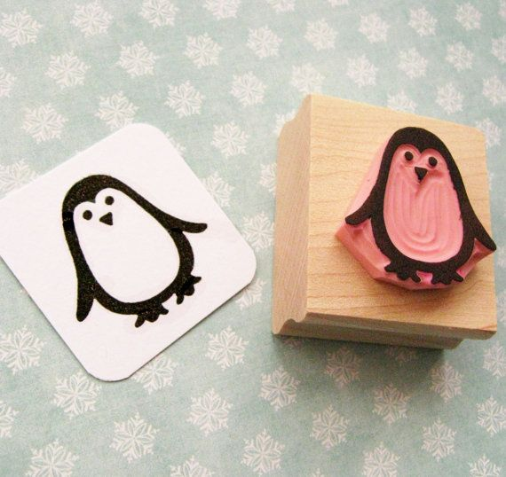 Christmas Stamp Small Penguin Hand Carved by skullandcrossbuns, £5.50