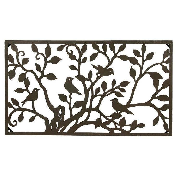 Foreside Home U0026 Garden Metal Birds On A Tree Horizontal Wall Art   Bronze,  Bronze