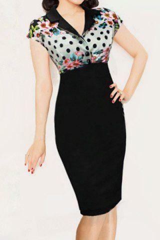 Stylish Turn-Down Collar Short Sleeve Printed Bodycon Women's Sheath Dress