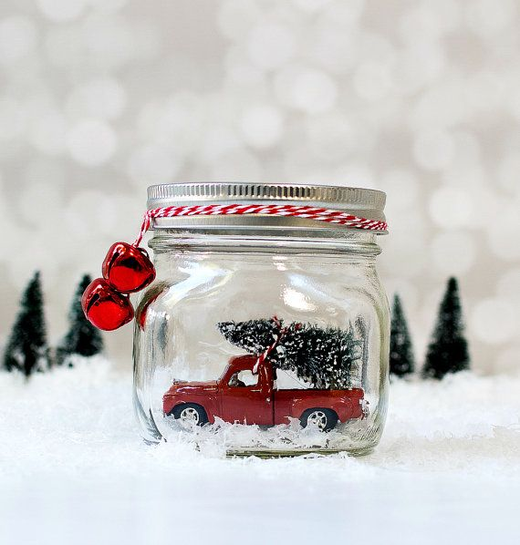 Vintage Truck in Jar Snow Globe - Mason Jar Snow Globe - Vintage Studebaker - Christmas Decor with Vintage Cars