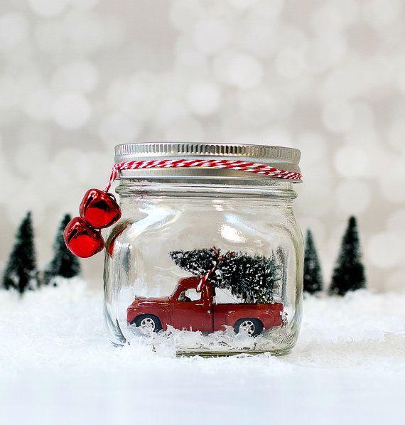 Vintage Truck in Jar Snow Globe - Mason Jar Snow Globe - Vintage Studebaker - Christmas Decor with Vintage Cars