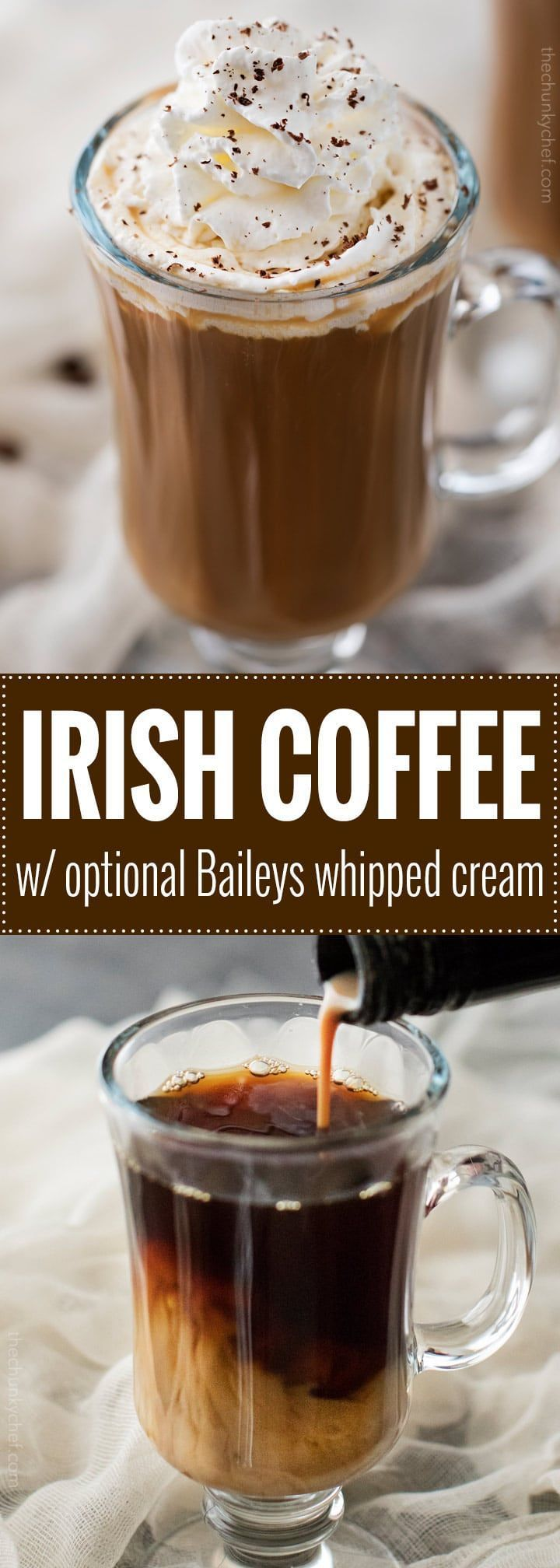 This Irish Coffee is made with black coffee, Irish whiskey, Baileys, brown sugar and heavy cream. Not 100% authentic, but 100% smooth and mouthwatering!   #coffee, #Irish, #StPatricksDay #irishcoffee #baileys #whiskey #boozycoffee #cocktailrecipes