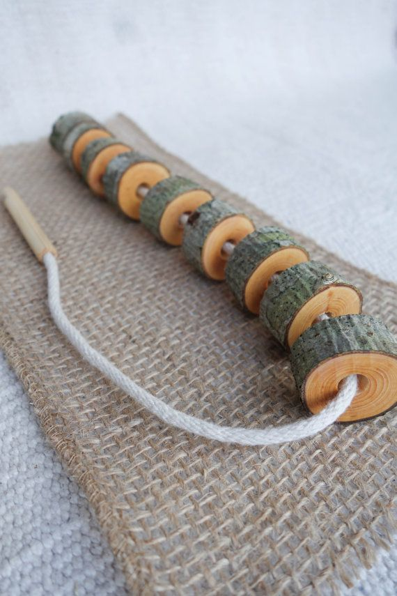 Wooden lacing toy, Tree slice toy, Montessori practical life, Toddler gift 9 piece set, Waldorf toy Zita