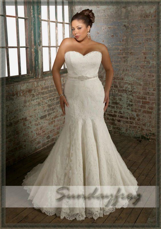 Free Shipping 2012 Custom Made Mermaid Sweetheart Beaded Lace Wedding Dress Plus Size Chapel Train Bow Back Bridal Gown -PS36 on AliExpress.com. $209.00