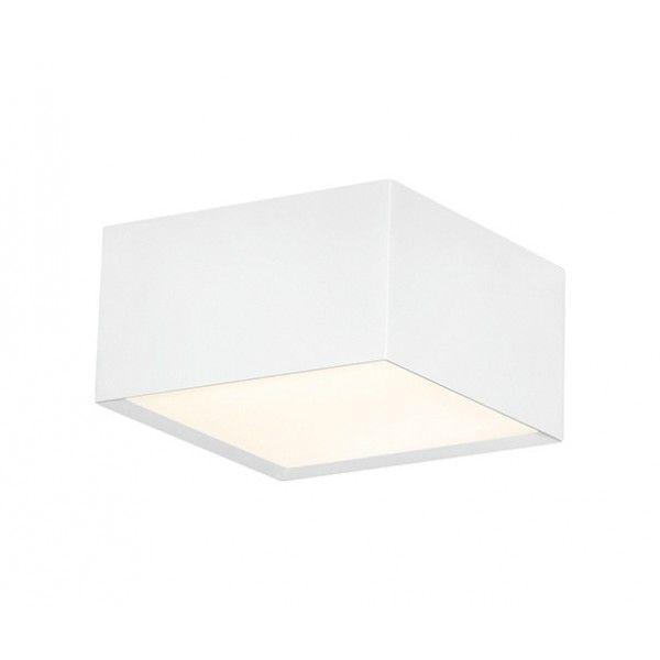 Luminária Perfil Sobrepor III quadrado, luz difusa, para 2 lâmpadas,  Medidas: 15x15x8cm,  Material: Alumínio e acrílico,  Cor: Branco Total