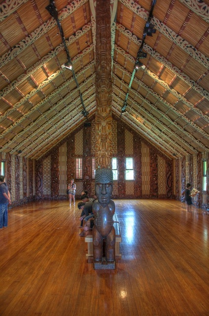 Inside a Maori meeting house (wharenui) , New Zealand