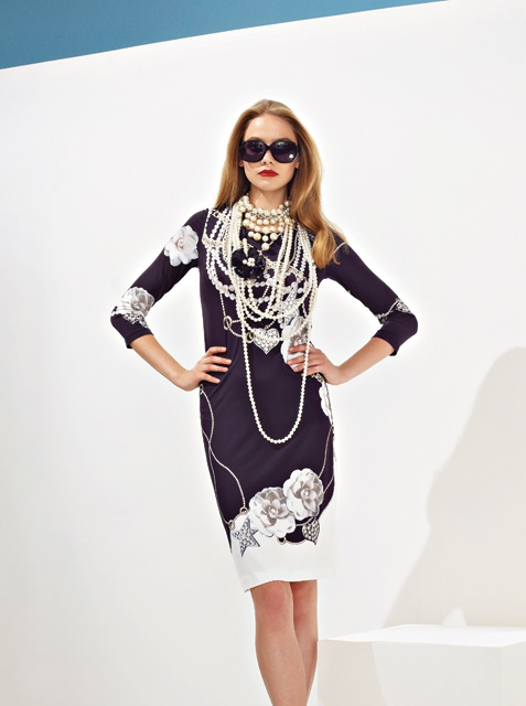 Minidress with print pearl strings and jewels. From Anna Rachele S/S '13 collection.