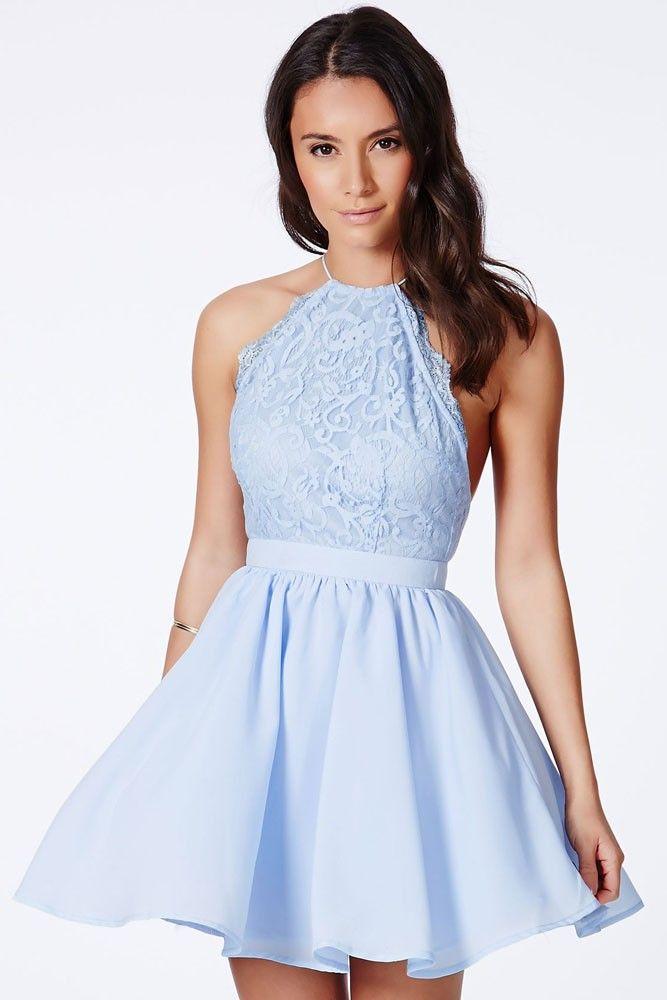 Vestido Azul Bebe Cross Back Detalhes em Renda