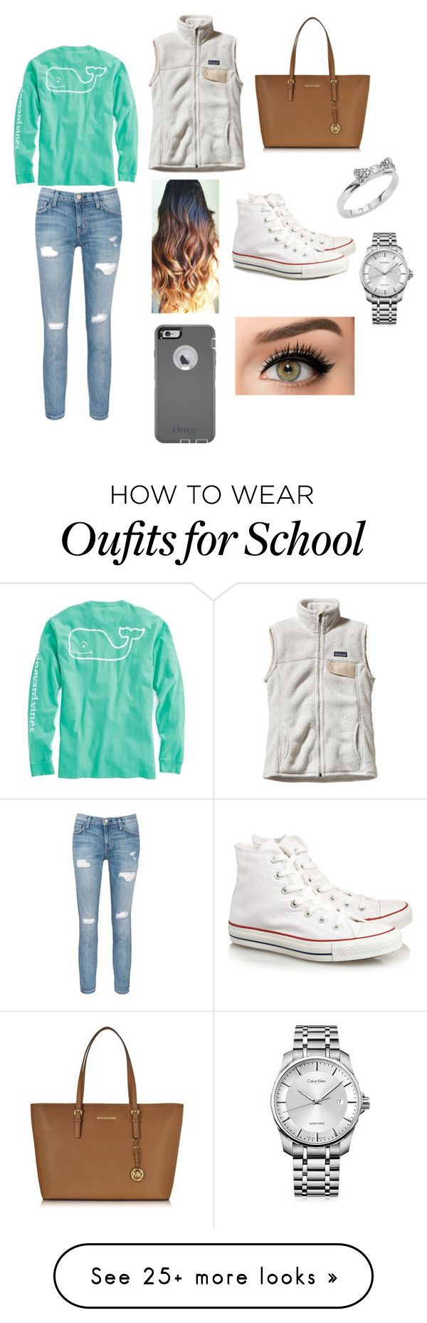 School day ♡ by gracie-norfleet on Polyvore featuring Patagonia, Vineyard Vines, Current/Elliott, Converse, Michael Kors, OtterBox, Kate Spade and Calvin Klein