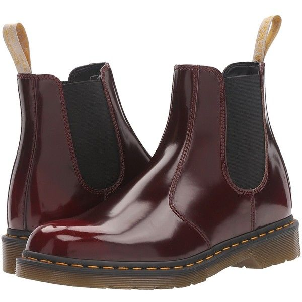 Dr. Martens 2976 Chelsea Boot (Cherry Red Cambridge Brush) Lace-up... ($145) ❤ liked on Polyvore featuring shoes, boots, leather lace up boots, pull on leather boots, beatle boots, slip resistant boots and leather slip on shoes