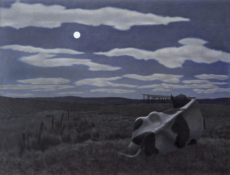 Moon and Cow by Alex Colville, 1963
