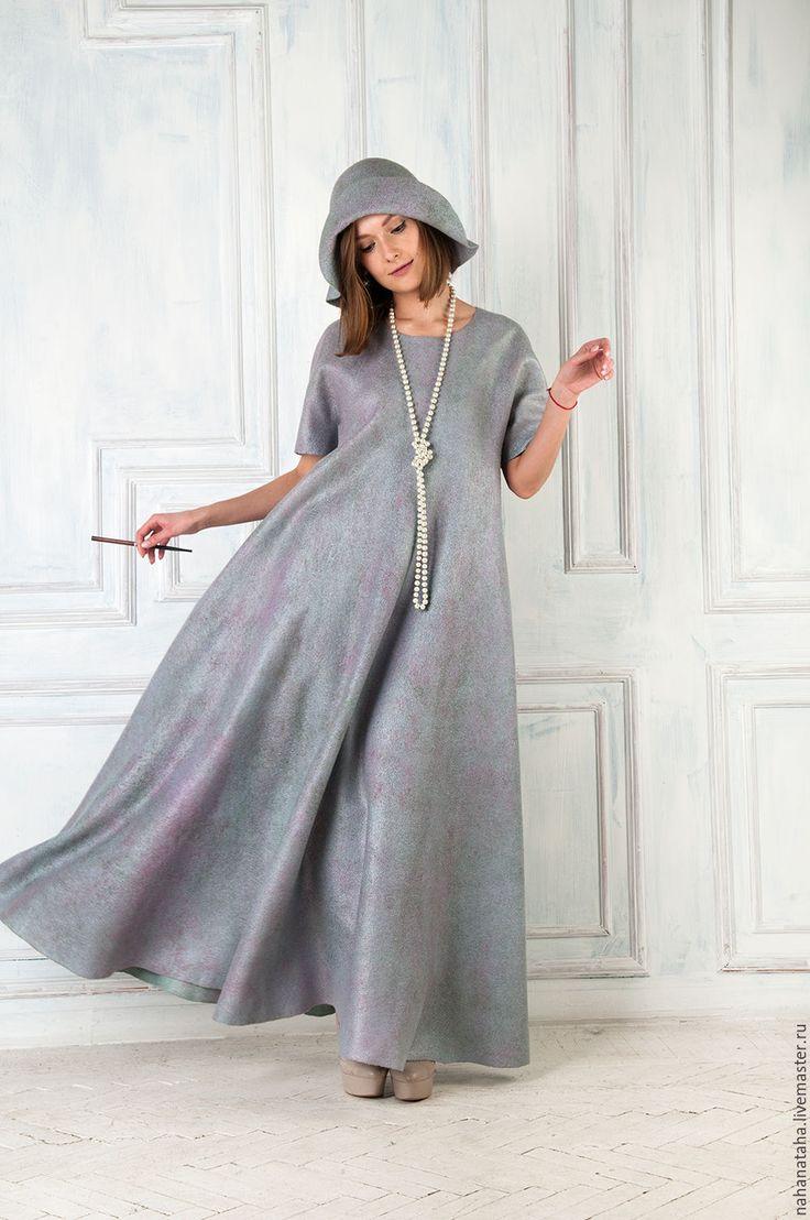 """Купить Валяное платье """"Муза"""" - мятный, подарок женщине, необычный силуэт, бохо, бохо-стиль"""