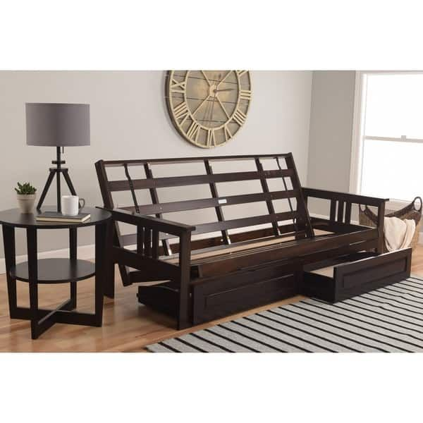 Somette Beli Mont Espresso Full Size Futon Set With Suede Mattress And Storage Drawers