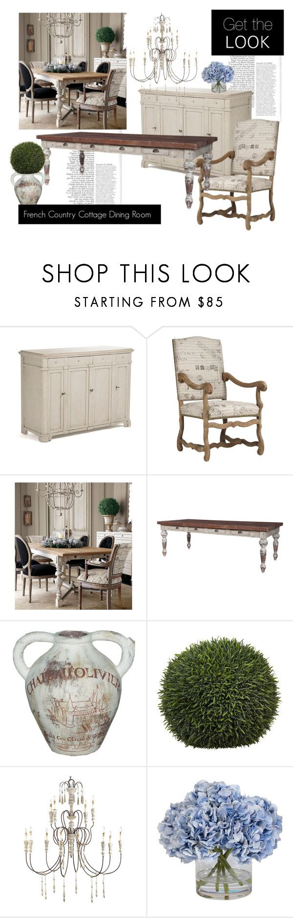 """""""French Country Cottage Dining Room"""" by belleescape ❤ liked on Polyvore featuring interior, interiors, interior design, home, home decor, interior decorating, Pomax, Ethan Allen, dining room and country"""