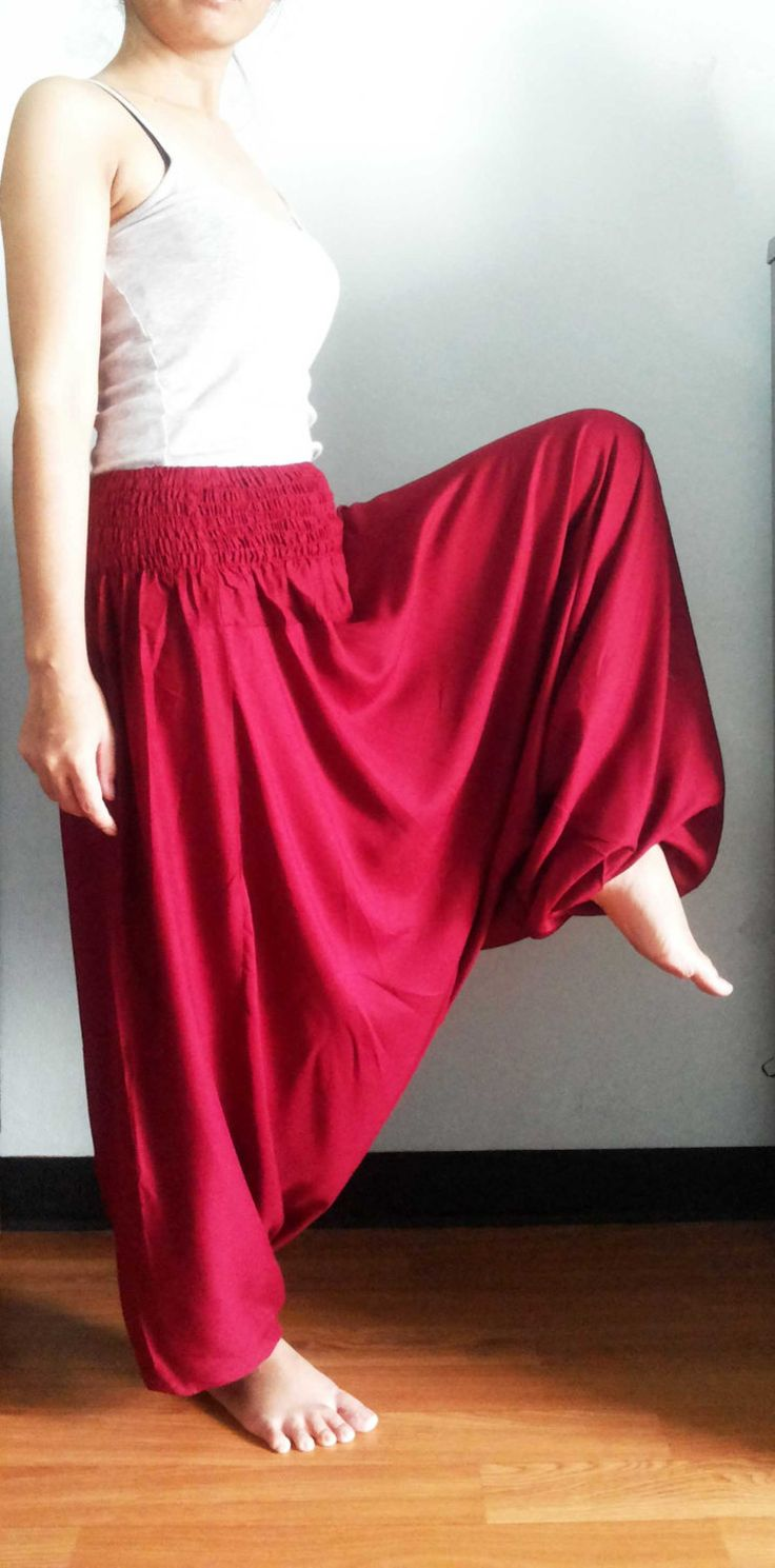 Women Yoga Aladdin Pants & Jumpsuit Harem Red Pants Summer Thai Gypsy Boho Rayon Pants Maxi Baggy Pants Genie Beach Trouser by doucefleur on Etsy