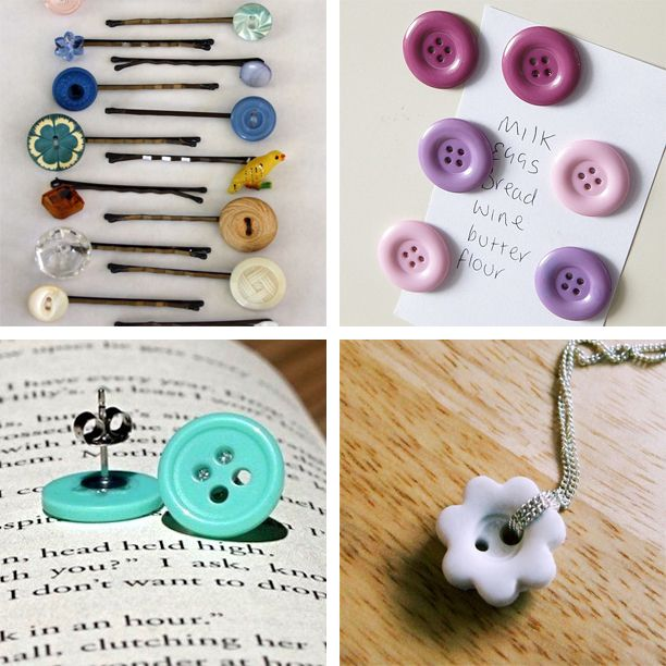 Fun button crafts.  I especially like the magnets.: Crafts Ideas, Buttons Crafts, Simple Buttons, Button Crafts, Earrings Posts, Buttons Projects, Buttons Earrings, Craft Ideas, Bobby Pin