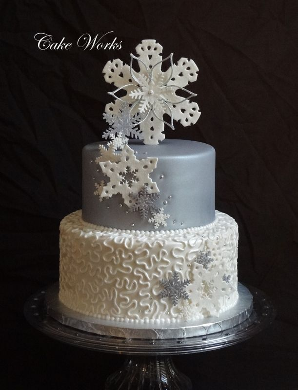 silver wedding cakes | silver and white snowflake wedding silver and white gumpaste ...