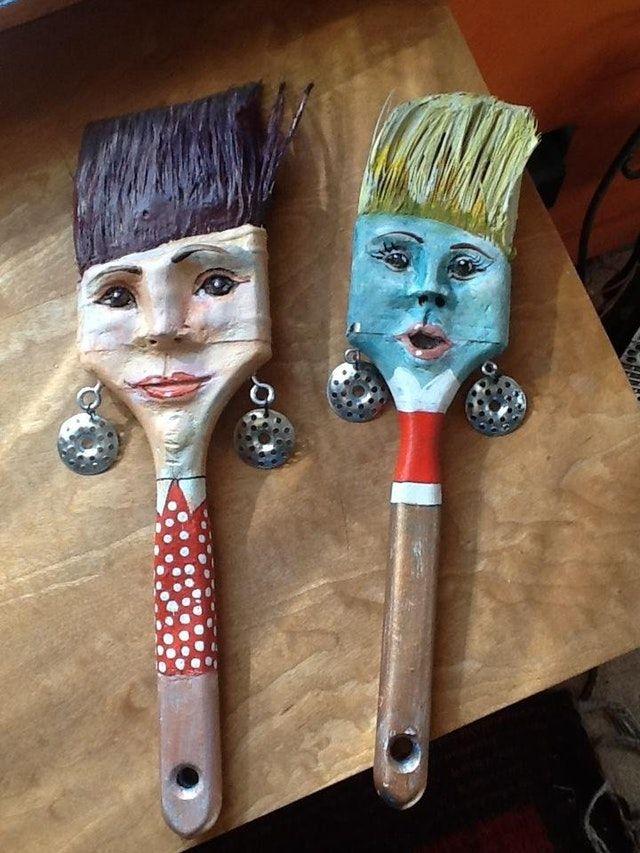 Reddit Crafts Paintbrush People Paint Brush Art Recycled Art Junk Art