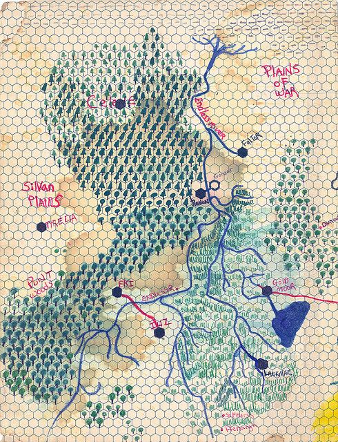 Map of Eastern Skone, Love the combination of highly structured grid paper with hand drawn and organic note making