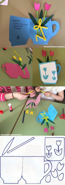 Manualidadesconmishijas: Tarjeta de taza con flores para el Día de la madre